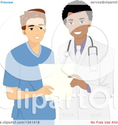 clipart of a cartoon happy black male doctor discussing patient history with a male nurse royalty free vector illustration by bnp design studio [ 1080 x 1024 Pixel ]