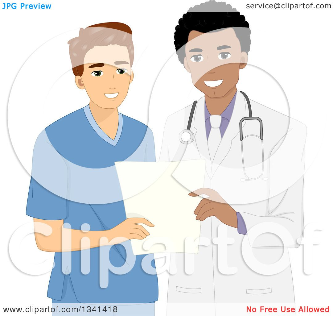 hight resolution of clipart of a cartoon happy black male doctor discussing patient history with a male nurse royalty free vector illustration by bnp design studio