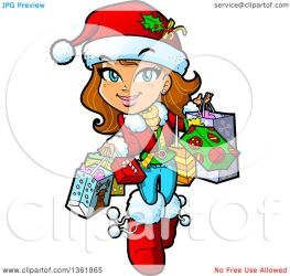 shopping cartoon christmas brunette bags happy carrying clipart clip vector caucasian illustration royalty mascots