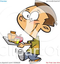 clipart of a cartoon happy brunette white school boy carrying a cafeteria lunch tray royalty free [ 1080 x 1024 Pixel ]