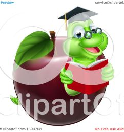 clipart of a cartoon happy green graduate book worm reading in a red apple royalty free vector illustration by atstockillustration [ 1080 x 1024 Pixel ]