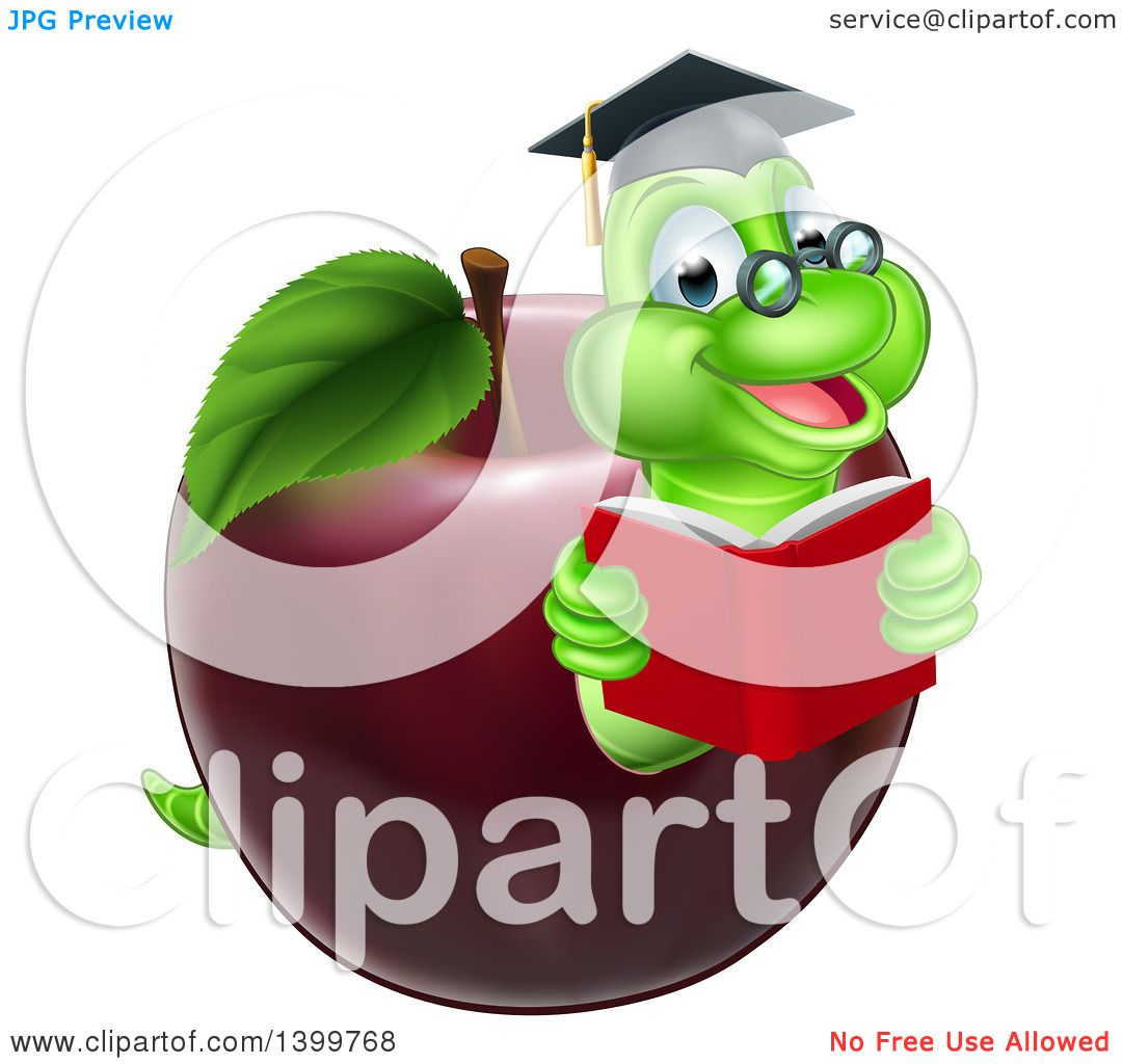 hight resolution of clipart of a cartoon happy green graduate book worm reading in a red apple royalty free vector illustration by atstockillustration