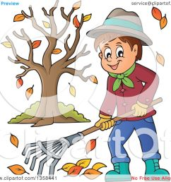 clipart of a cartoon happy man raking autumn leaves by a tree royalty free vector [ 1080 x 1024 Pixel ]