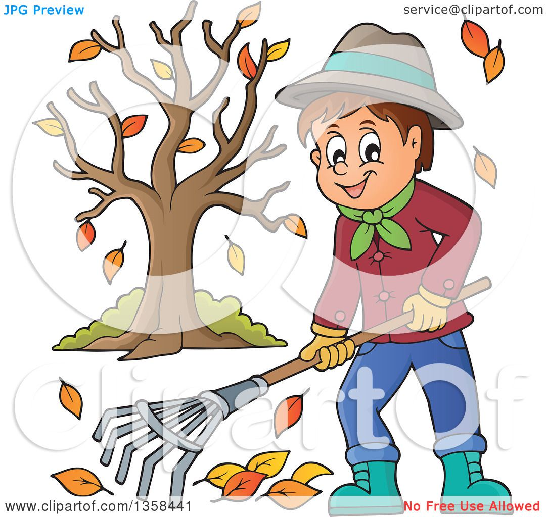 hight resolution of clipart of a cartoon happy man raking autumn leaves by a tree royalty free vector