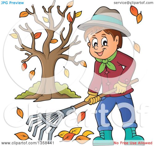 small resolution of clipart of a cartoon happy man raking autumn leaves by a tree royalty free vector