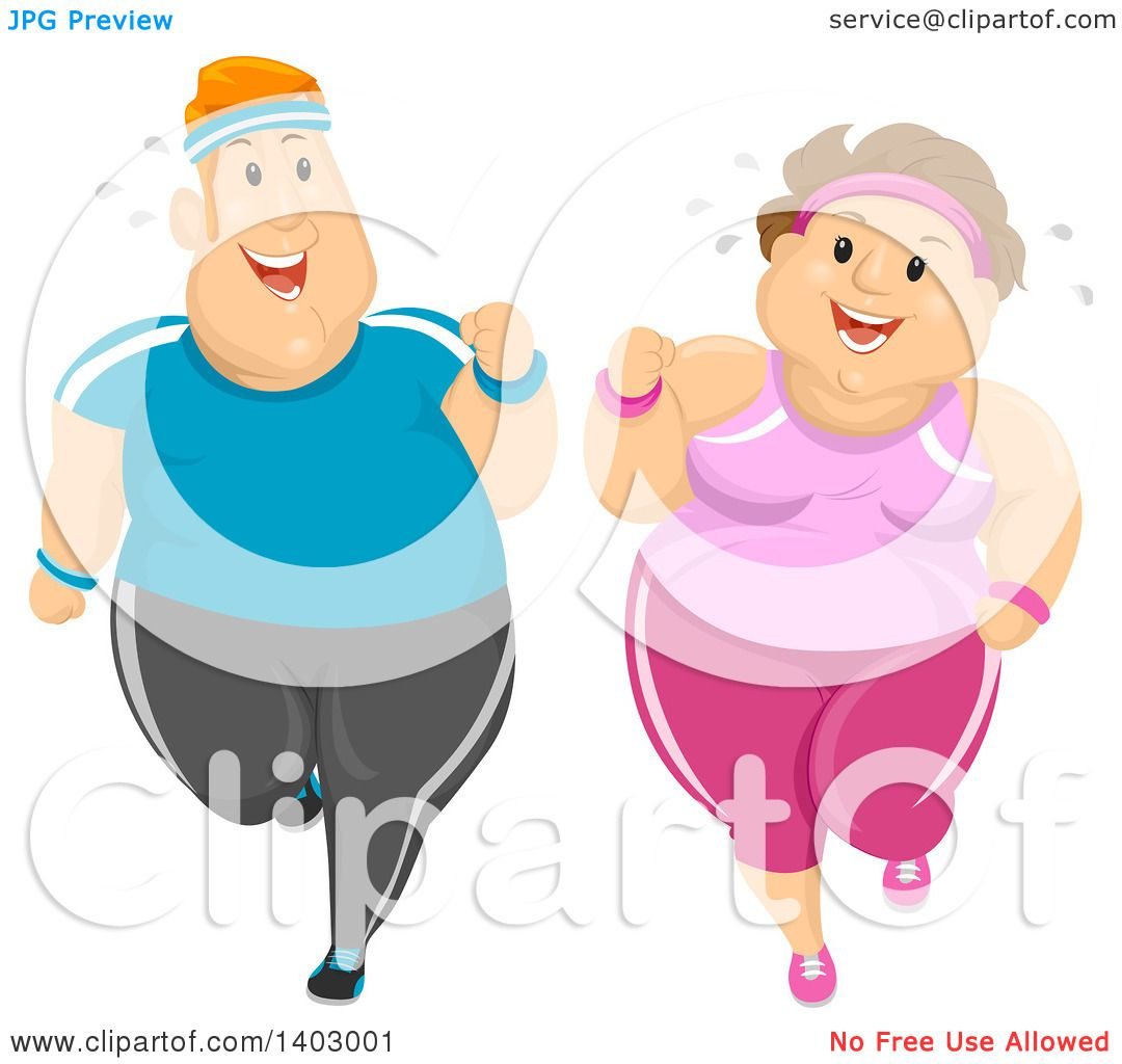 hight resolution of clipart of a cartoon happy overweight caucasian couple jogging and working out together royalty free vector