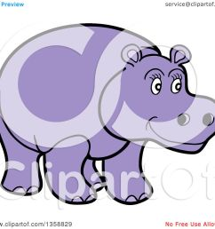 clipart of a cartoon happy purple hippopotamus royalty free vector illustration by lafftoon [ 1080 x 1024 Pixel ]