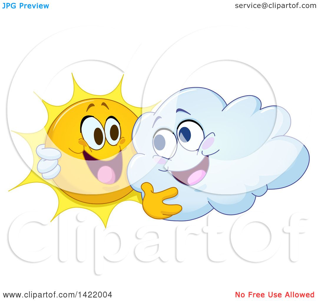 hight resolution of clipart of a cartoon happy sun and cloud hugging royalty free vector illustration by yayayoyo