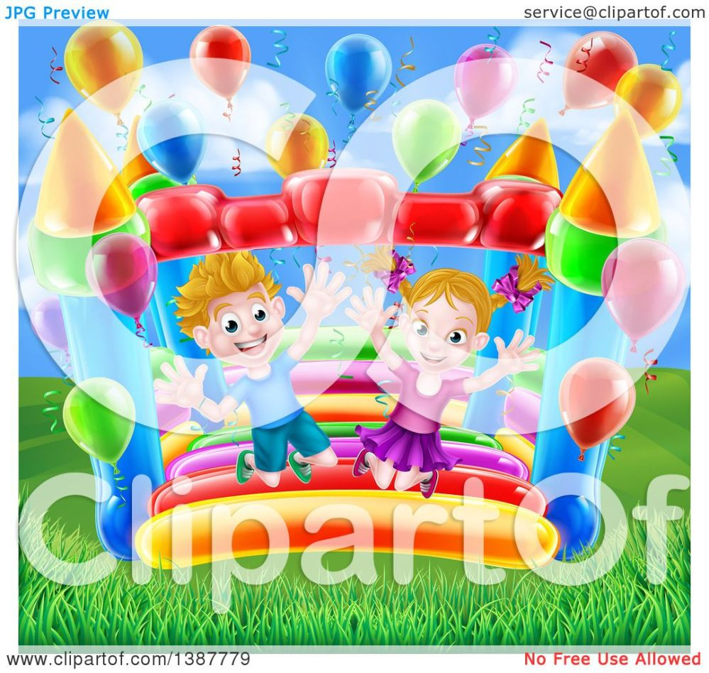 medium resolution of clipart of a cartoon happy white boy and girl jumping on a bouncy house castle in