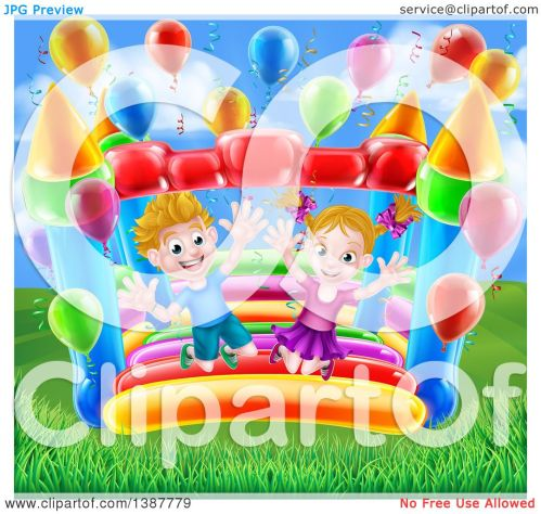 small resolution of clipart of a cartoon happy white boy and girl jumping on a bouncy house castle in