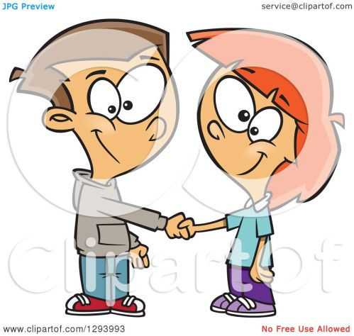 small resolution of clipart of a cartoon happy white boy and girl shaking hands on a deal or friendship
