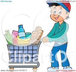 shopping cart cartoon pushing happy clipart groceries illustration royalty visekart vector