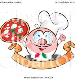 clipart of a cartoon italian chef holding a pizza and thumb up on a banner  [ 1080 x 1024 Pixel ]