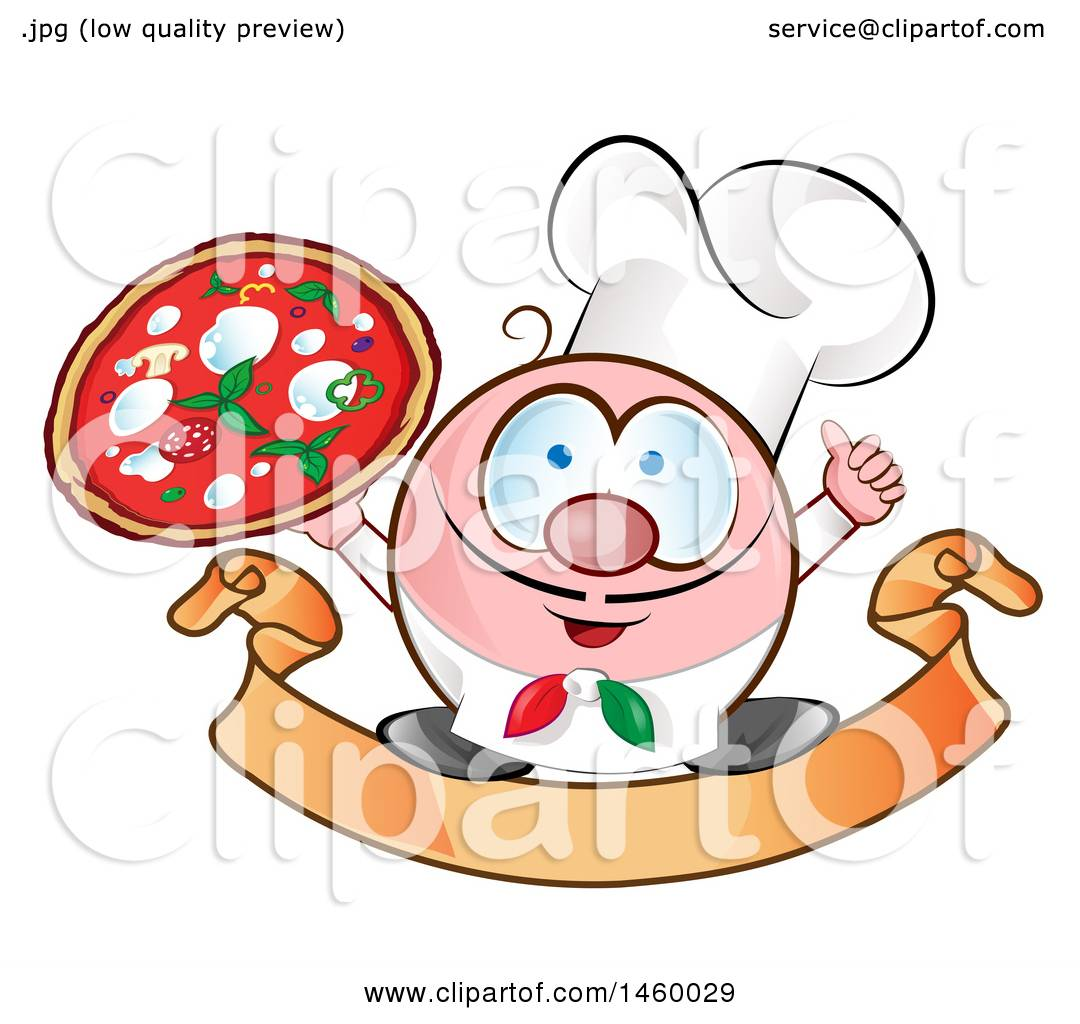 hight resolution of clipart of a cartoon italian chef holding a pizza and thumb up on a banner