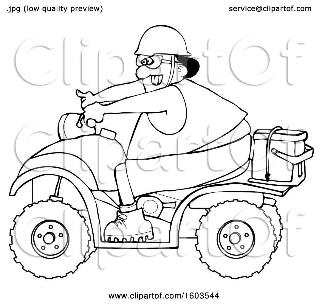 Clipart Of A Cartoon Lineart Black Man Riding A Red Atv