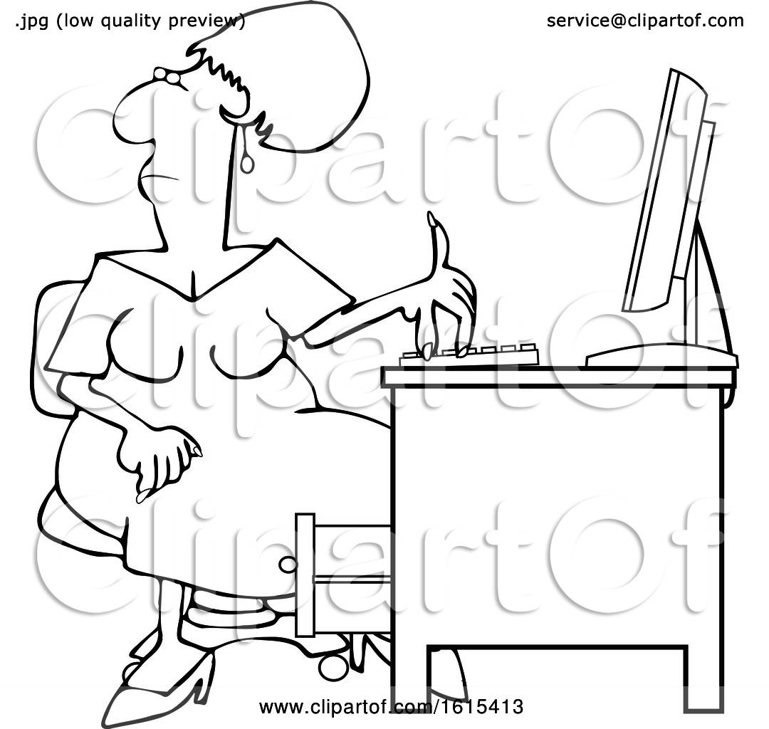 Clipart Of A Cartoon Lineart Black Woman Working At An