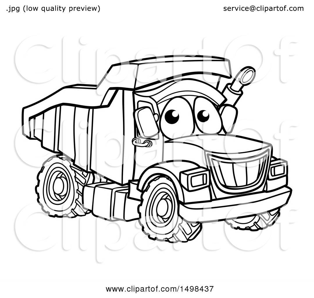 Clipart Of A Cartoon Lineart Dump Truck Mascot Character