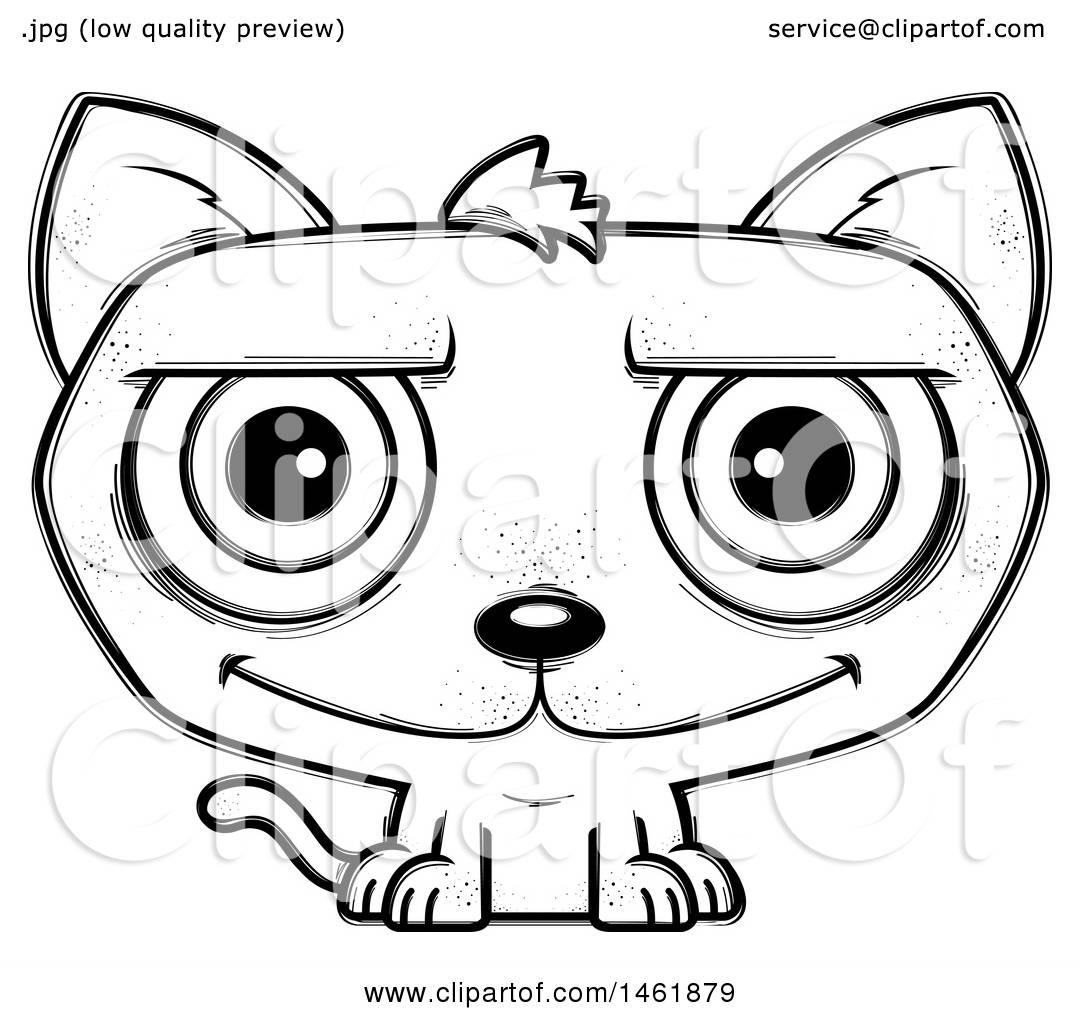 Clipart Of A Cartoon Lineart Happy Evil Cat