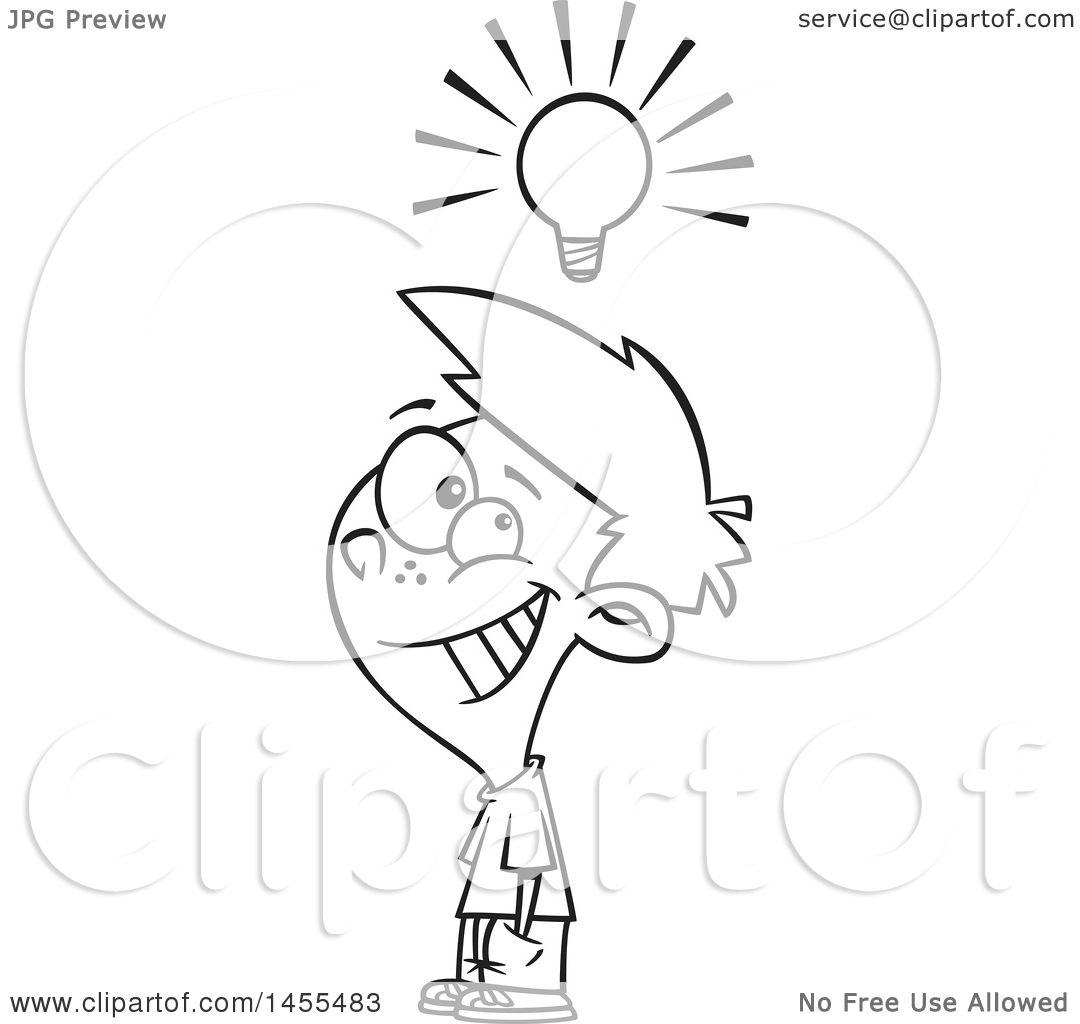 Clipart of a Cartoon Lineart Smart Boy Under a Light Bulb