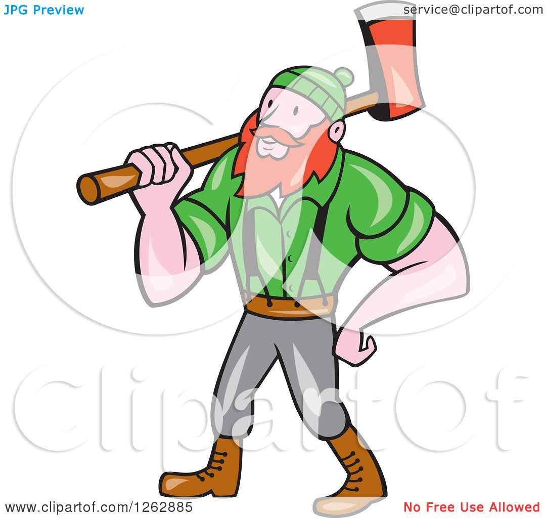 hight resolution of clipart of a cartoon logger paul bunyan with an axe royalty free vector