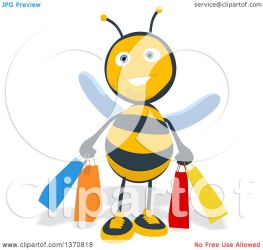 bee background shopping cartoon bags male holding clipart illustration royalty julos without copyright