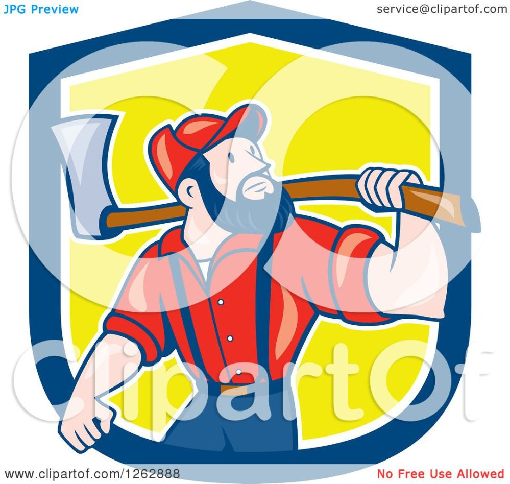 medium resolution of clipart of a cartoon male paul bunyan lumberjack carrying an axe in a blue white and