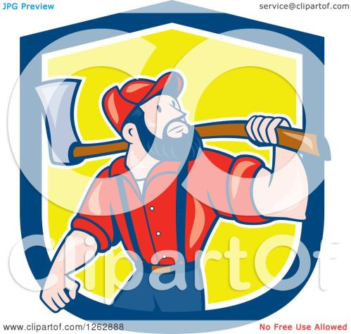 small resolution of clipart of a cartoon male paul bunyan lumberjack carrying an axe in a blue white and