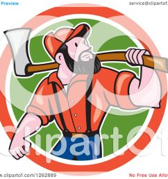 clipart of a cartoon male paul bunyan lumberjack carrying an axe in a red white and [ 1080 x 1024 Pixel ]