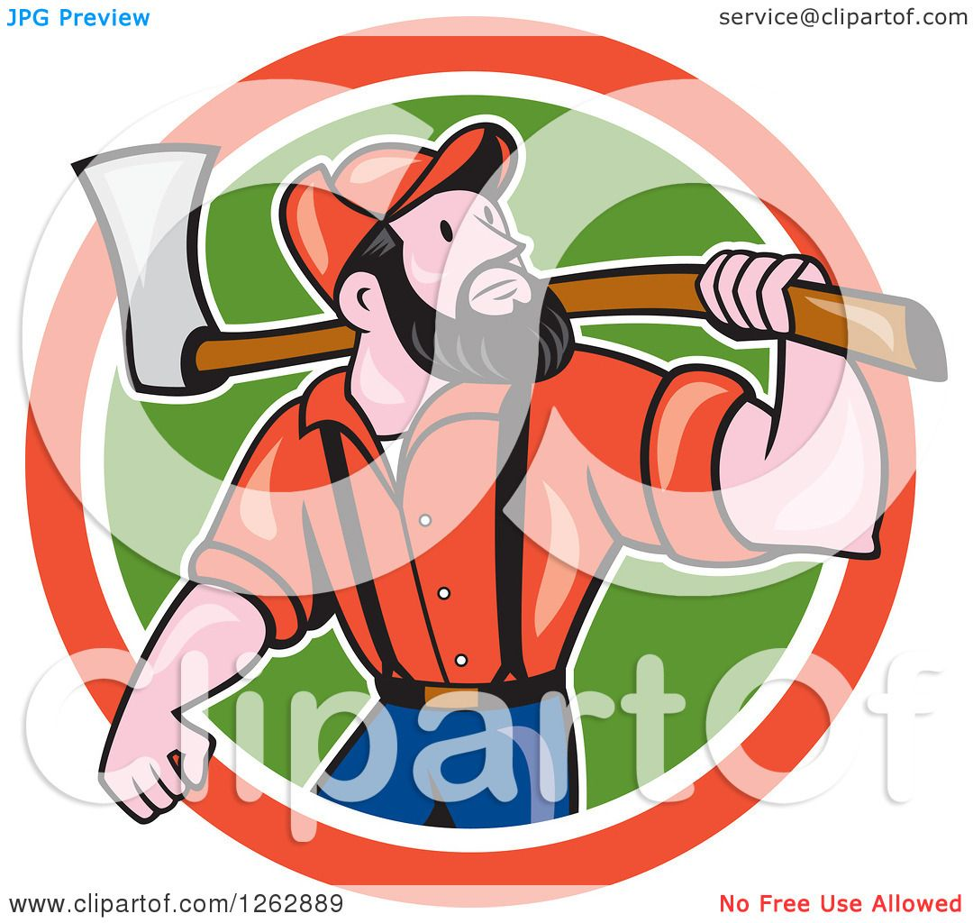 hight resolution of clipart of a cartoon male paul bunyan lumberjack carrying an axe in a red white and