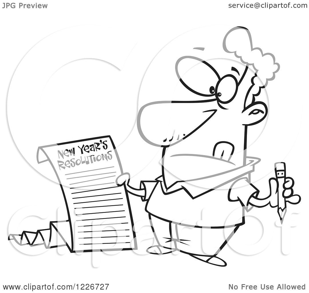 Clipart of a Cartoon Man Writing a Long New Years