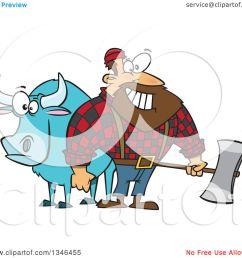 clipart of a cartoon paul bunyan lumberjack holding an axe by babe the blue ox  [ 1080 x 1024 Pixel ]
