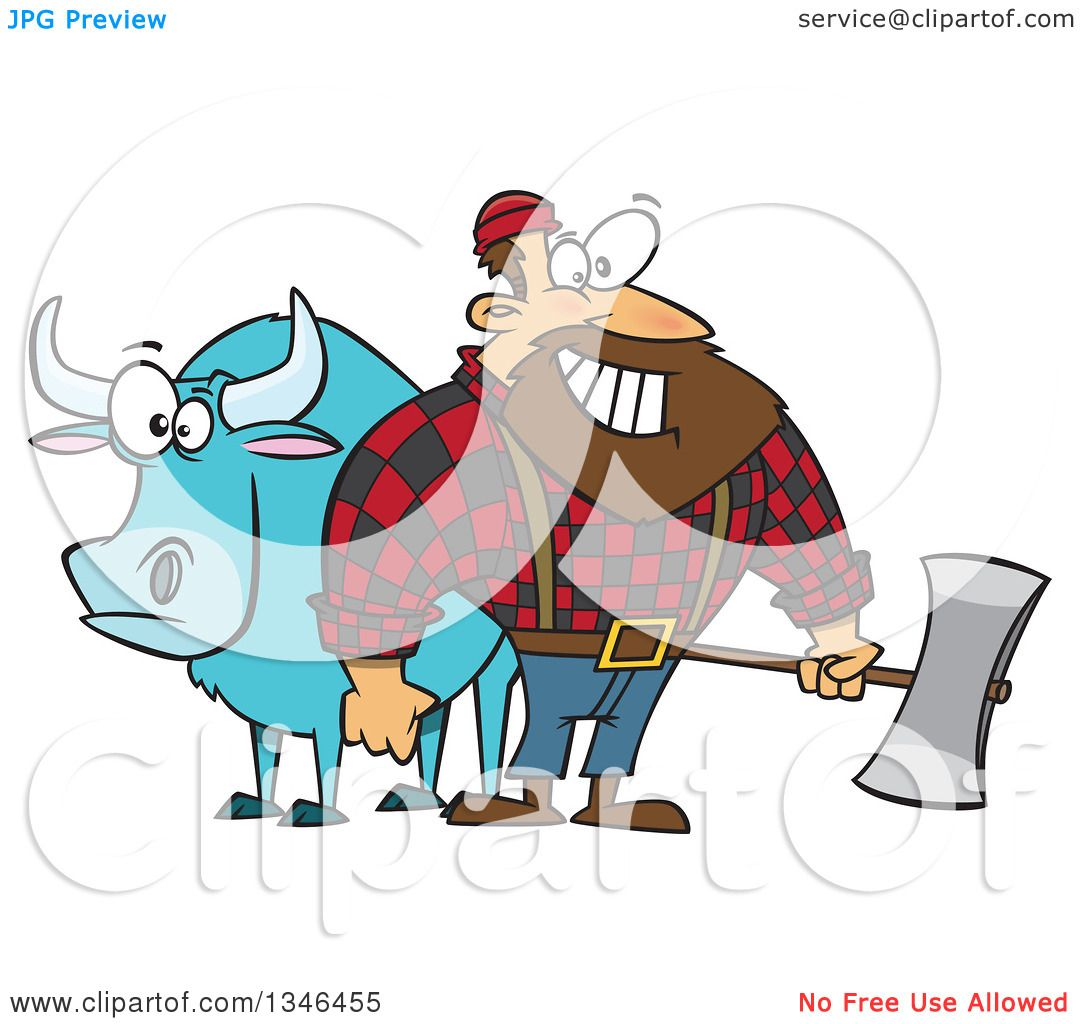 hight resolution of clipart of a cartoon paul bunyan lumberjack holding an axe by babe the blue ox