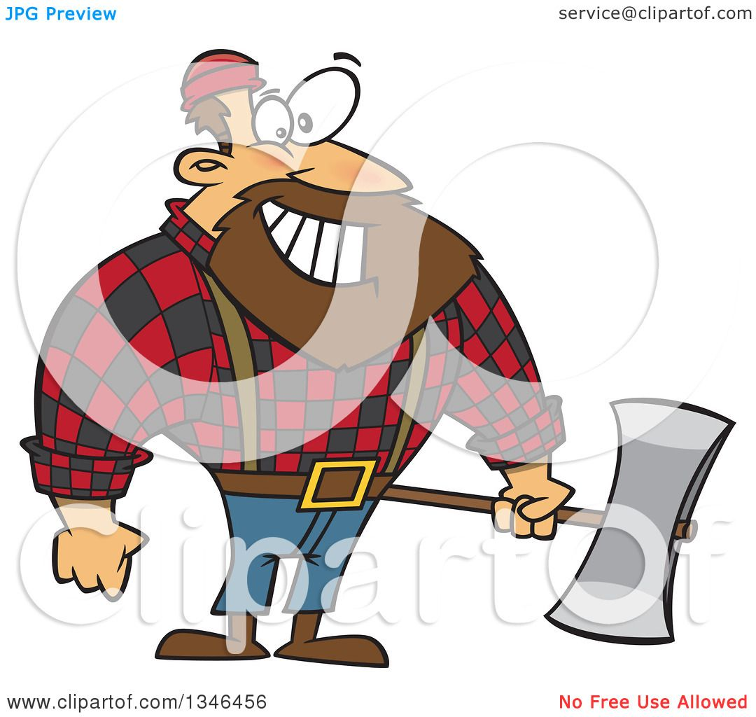 hight resolution of clipart of a cartoon paul bunyan lumberjack holding an axe royalty free vector illustration by