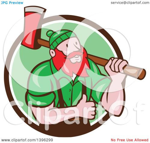 small resolution of clipart of a cartoon red haired lumberjack paul bunyan carrying an axe and giving a thumb