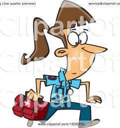 clipart of a cartoon running white female emt with a first aid kit royalty free [ 1080 x 1024 Pixel ]