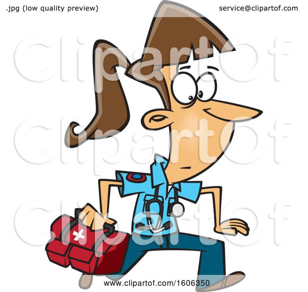 medium resolution of clipart of a cartoon running white female emt with a first aid kit royalty free