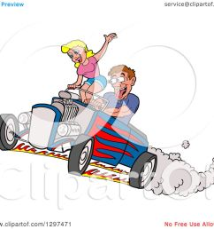 clipart of a cartoon salivating drooling white man peeling out in a hot rod and checking out a blond female passenger royalty free vector illustration by  [ 1080 x 1024 Pixel ]