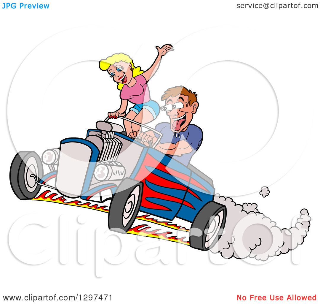hight resolution of clipart of a cartoon salivating drooling white man peeling out in a hot rod and checking out a blond female passenger royalty free vector illustration by