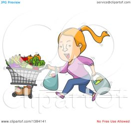 cartoon shopping running groceries cart strawberry bags woman clipart blond illustration royalty vector clip bnp studio