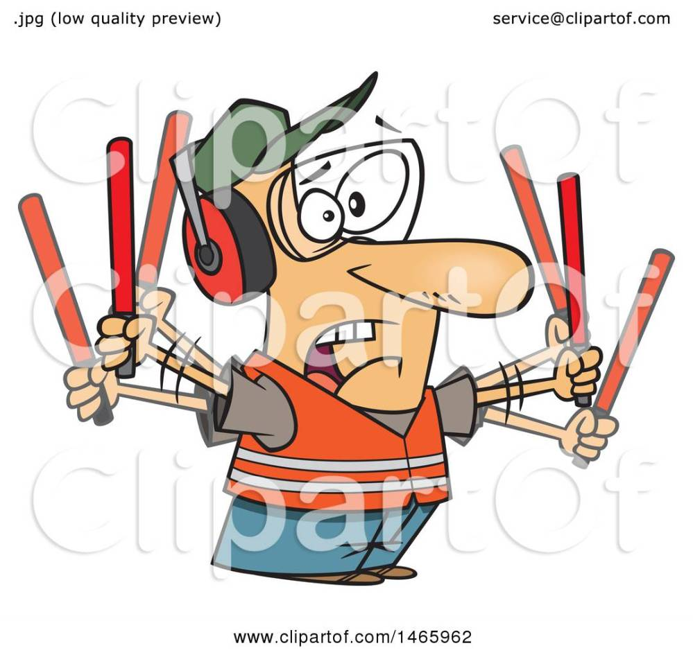 medium resolution of clipart of a cartoon stressed white male traffic controller waving wands royalty free vector illustration
