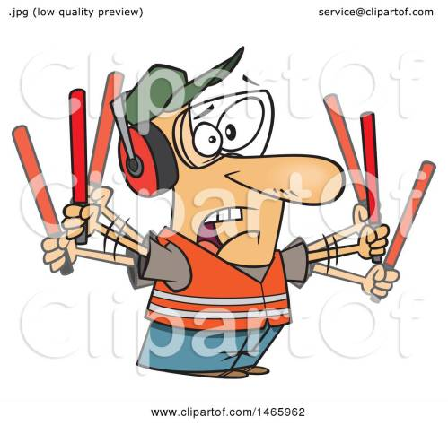 small resolution of clipart of a cartoon stressed white male traffic controller waving wands royalty free vector illustration