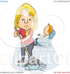 clipart of a cartoon tired and angry caucasian wife mopping while her husband watches tv  [ 1080 x 1024 Pixel ]