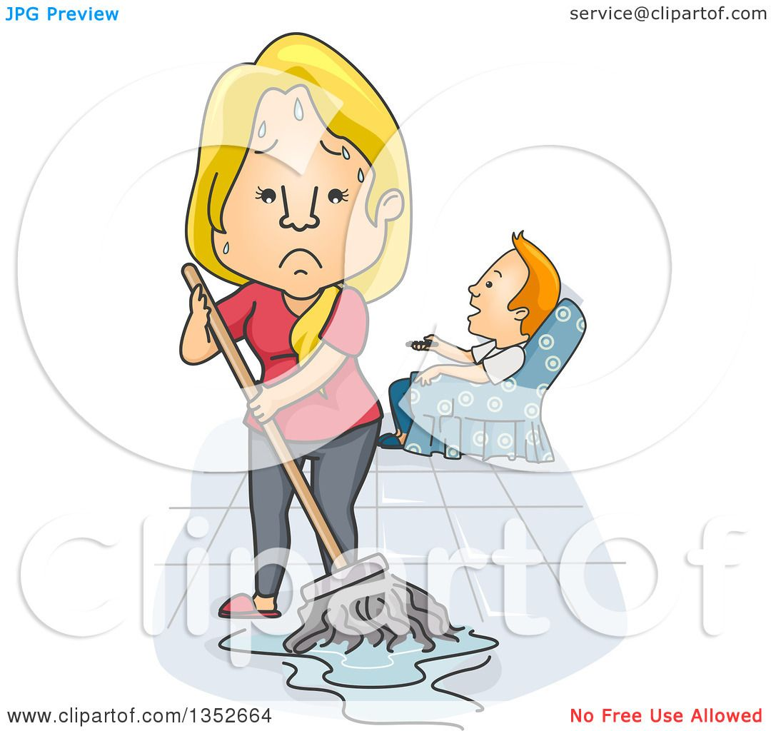 hight resolution of clipart of a cartoon tired and angry caucasian wife mopping while her husband watches tv