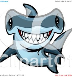 clipart of a cartoon tough blue hammerhead shark royalty free vector illustration by vector tradition [ 1080 x 1024 Pixel ]