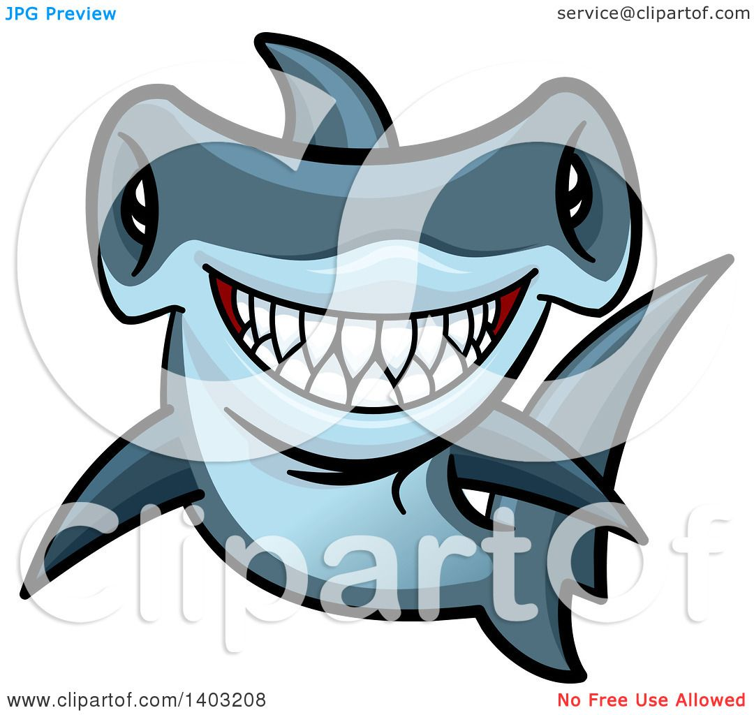 hight resolution of clipart of a cartoon tough blue hammerhead shark royalty free vector illustration by vector tradition