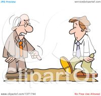 Clipart of a Cartoon White Business Man Being Called on ...