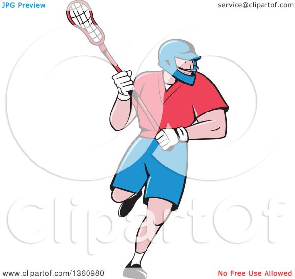 Cartoon Girl Lacrosse Player