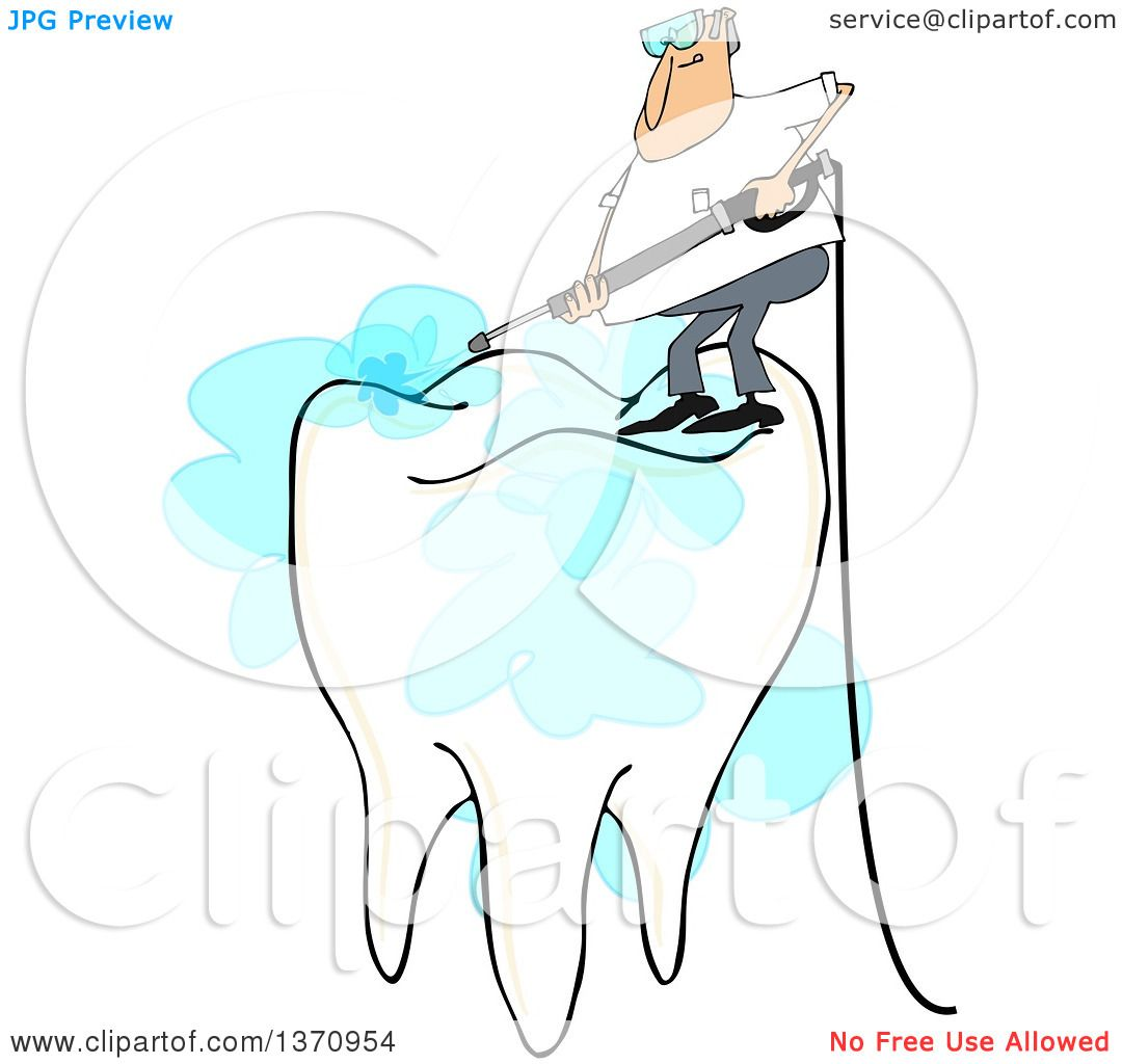 hight resolution of clipart of a cartoon white man pressure washing the top of a tooth on a