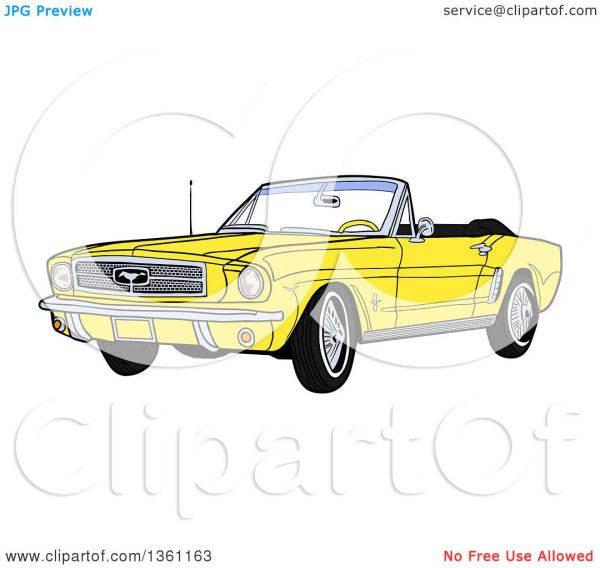 Clipart of a Cartoon Yellow Convertible 64 Ford Mustang