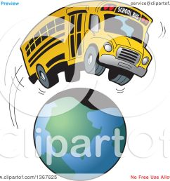 clipart of a cartoon yellow school bus going on a field trip around the earth royalty free vector illustration by clip art mascots [ 1080 x 1024 Pixel ]